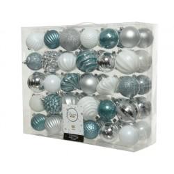Caja  60 bolas plateados...