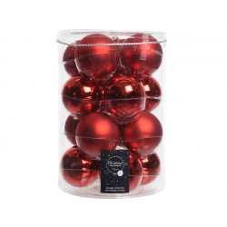 Tubo 16 bolas rojo navidad,...