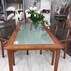 Conjunto mesa cristal y 4...